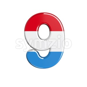 Luxembourg number 9 - 3d digit Stock Photo