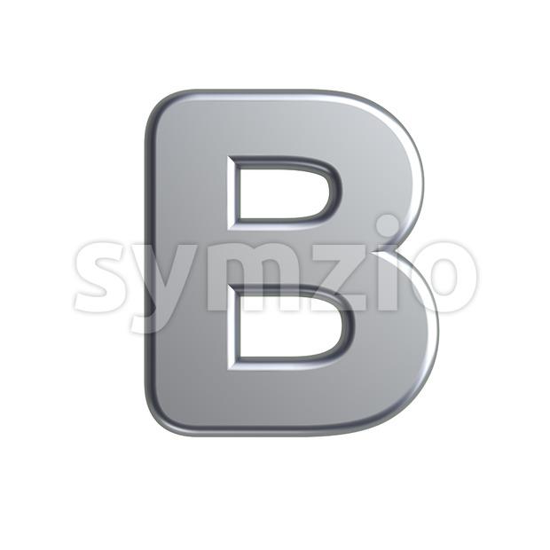 Capital aluminum letter B - Upper-case 3d font Stock Photo
