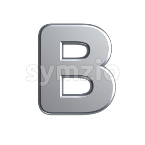 Capital aluminum letter B - Upper-case 3d font Stock Photo