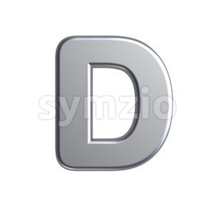 aluminium font D - Capital 3d character Stock Photo
