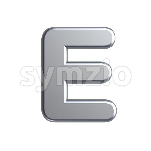3d Capital character E covered in aluminium texture Stock Photo