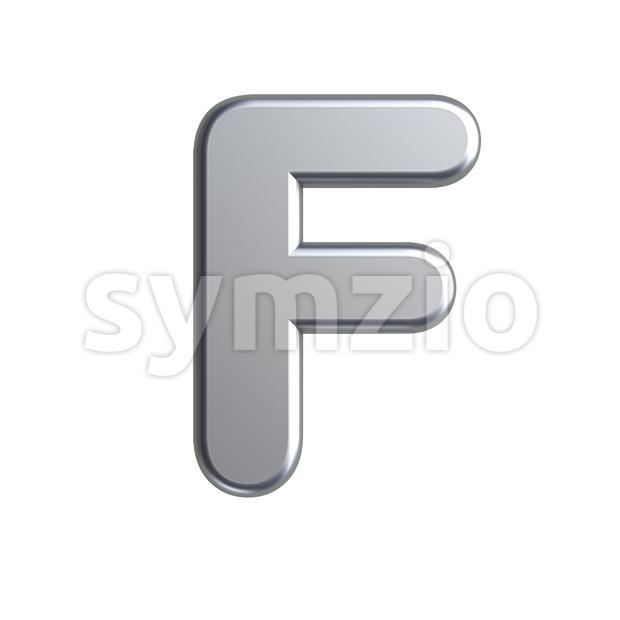 metal letter F - Upper-case 3d font Stock Photo