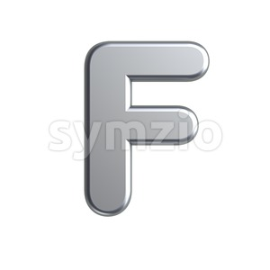metal letter F - Upper-case 3d font Stock Photo