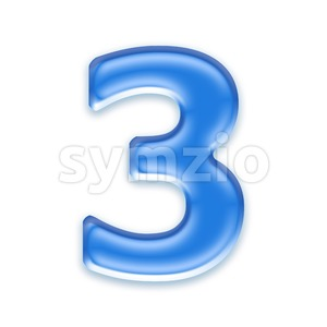 blue jelly number 3 - 3d digit Stock Photo