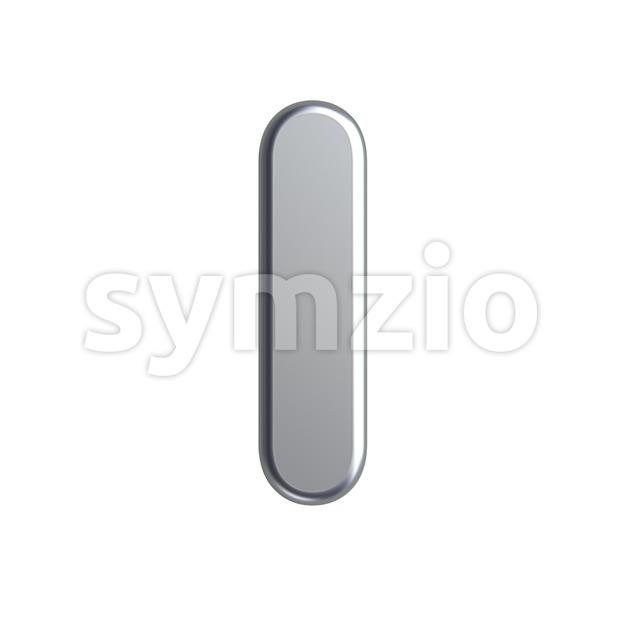 Uppercase aluminium font I - Capital 3d letter Stock Photo