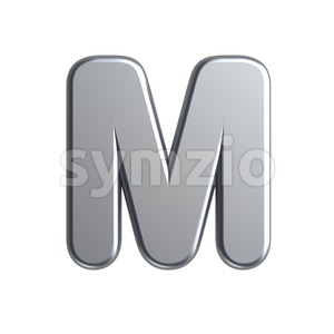 3d Capital character M covered in aluminium texture Stock Photo