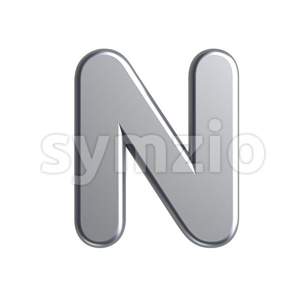 aluminium font N - Capital 3d letter Stock Photo