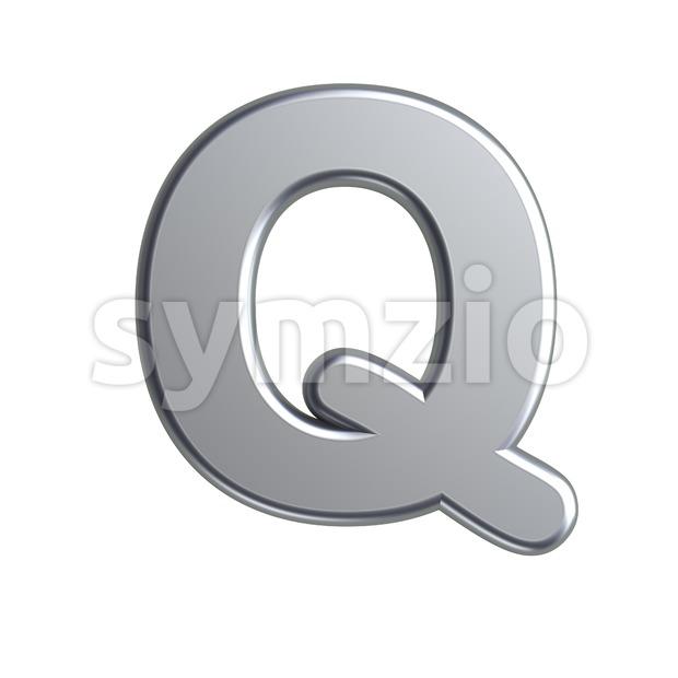 3d Upper-case font Q covered in aluminium texture Stock Photo