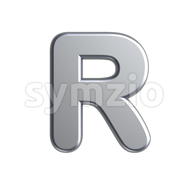 aluminium letter R - Uppercase 3d font Stock Photo