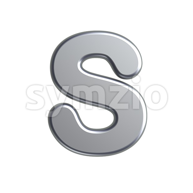 3d Uppercase font S covered in metal texture - Capital 3d letter Stock Photo