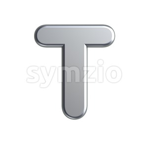 aluminum character T - Uppercase 3d letter Stock Photo