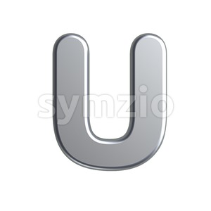 metal 3d letter U - Capital 3d font Stock Photo