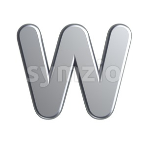 aluminum font W - Capital 3d letter Stock Photo
