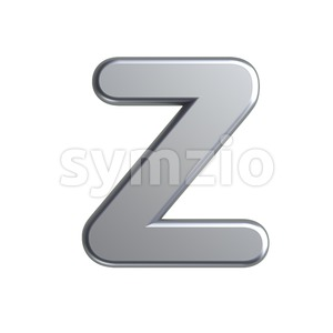 aluminium letter Z - Upper-case 3d font Stock Photo