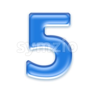 blue jelly number 5 - 3d digit Stock Photo
