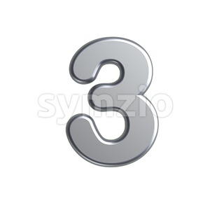 metal number 3 - 3d digit Stock Photo