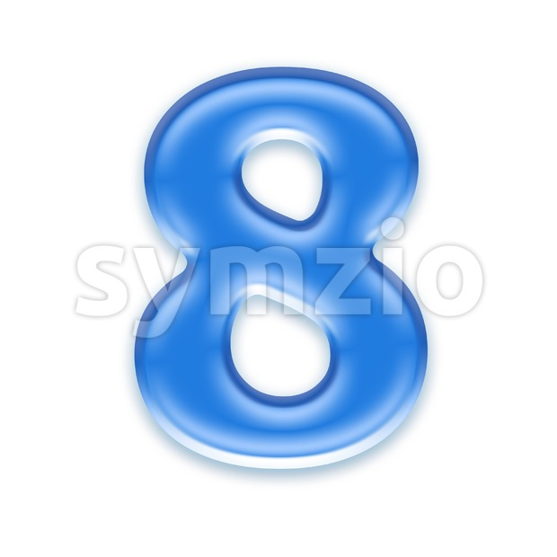 blue jelly digit 8 - 3d number Stock Photo