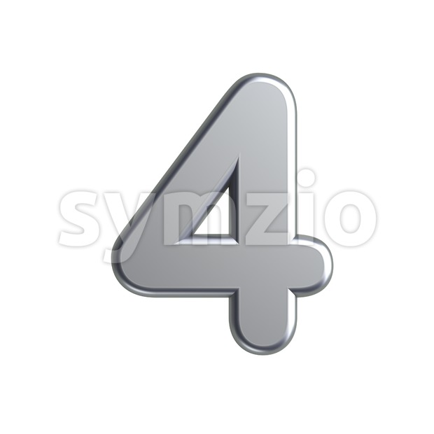 metal digit 4 - 3d number Stock Photo