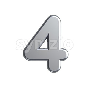 metal digit 4 - 3d number Stock Photo