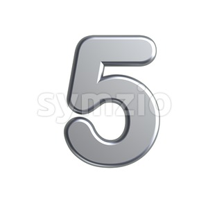 metal number 5 - 3d digit Stock Photo