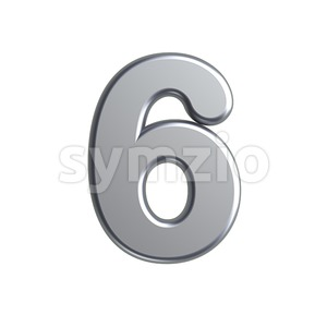 metal digit 6 - 3d number Stock Photo