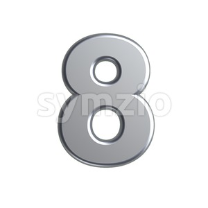 metal digit 8 - 3d number Stock Photo