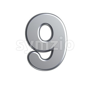 metal number 9 - 3d digit Stock Photo