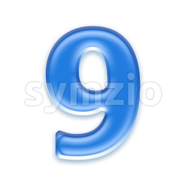 blue jelly number 9 - 3d digit Stock Photo