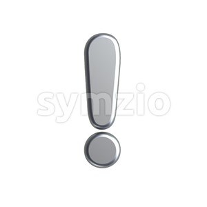 metal exclamation point - 3d symbol Stock Photo