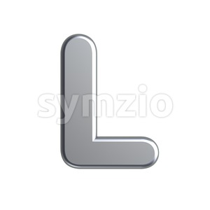 aluminium 3d font L - Capital 3d character Stock Photo