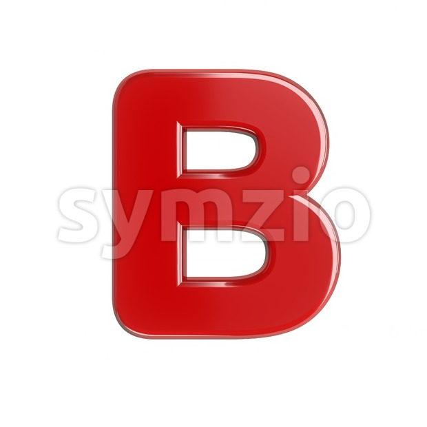 Capital glossy letter B - Upper-case 3d font Stock Photo