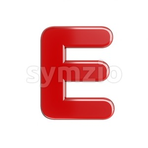3d Capital character E covered in glossy red texture Stock Photo