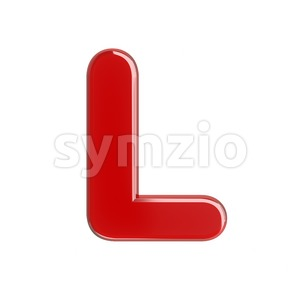 glossy red 3d font L - Capital 3d character Stock Photo