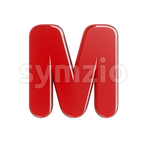 3d Capital character M covered in glossy red texture Stock Photo