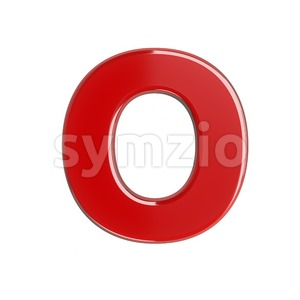 3d Upper-case letter O covered in red texture Stock Photo