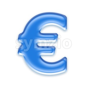 blue jelly euro currency sign - 3d business symbol Stock Photo