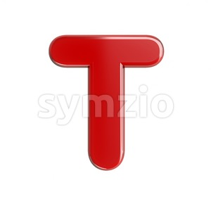 glossy character T - Uppercase 3d letter Stock Photo