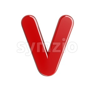Capital red letter V - Upper-case 3d character Stock Photo