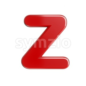 glossy red letter Z - Upper-case 3d font Stock Photo