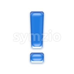 blue jelly exclamation point - 3d symbol Stock Photo