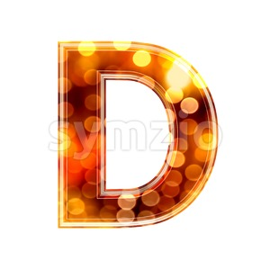 glowing lights font D - Capital 3d character Stock Photo