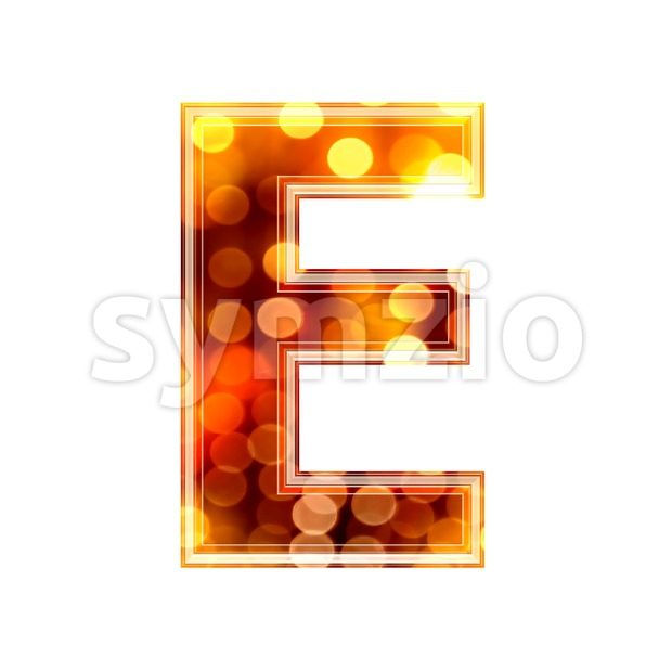 3d Capital character E covered in glowing lights texture Stock Photo