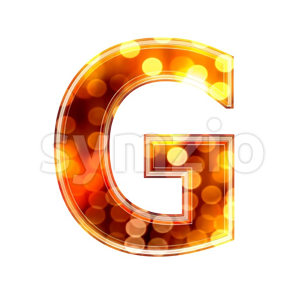 Upper-case glowing lights character G - Capital 3d font Stock Photo