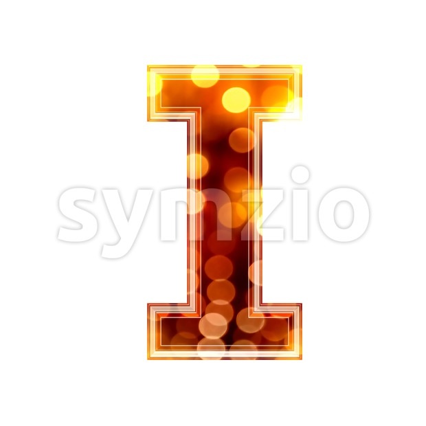 Uppercase glowing lights font I - Capital 3d letter Stock Photo