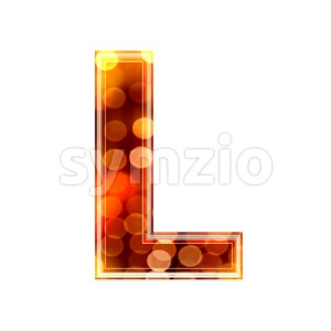 glowing lights 3d font L - Capital 3d character Stock Photo