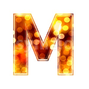 3d Capital character M covered in glowing lights texture Stock Photo