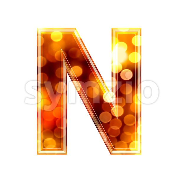 glowing lights font N - Capital 3d letter Stock Photo