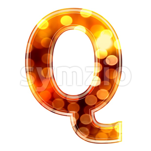 3d Upper-case font Q covered in glowing lights texture Stock Photo