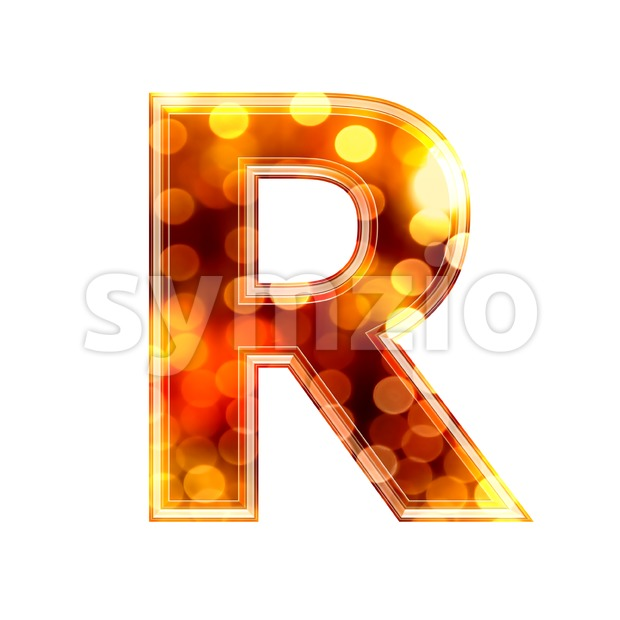 glowing lights letter R - Uppercase 3d font Stock Photo