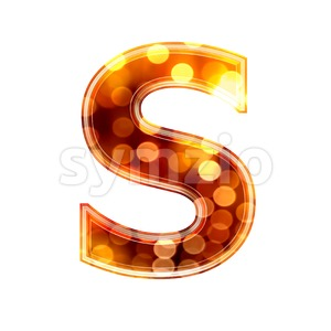 3d Uppercase font S covered in glowing lights texture Stock Photo